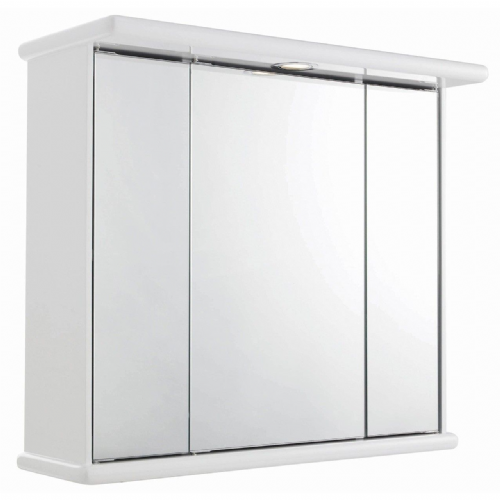 Cryptic White Gloss Triple Mirror Cabinet & Light 700mm x 620mm